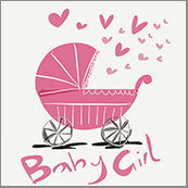 Small Cards (Pack of 10) - Baby Girl Pram Pink