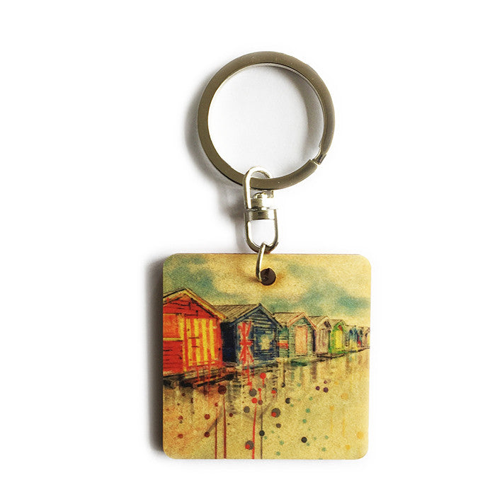 Keyring - Timber keyring with Beach Box print