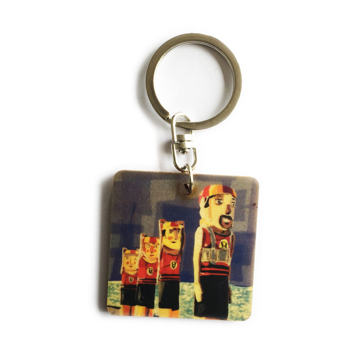 Keyring - Timber keyring with Beach Bollards print