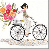 Small Cards (Pack of 10) - Bike with Girl and Blooms