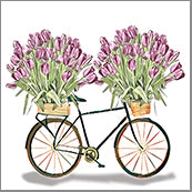 Small Cards (Pack of 10) - Bike with Tulips