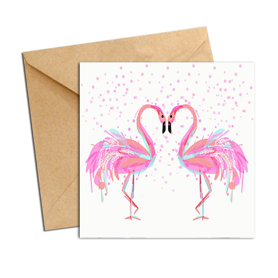 Card - Bird - Flamingos Inlove