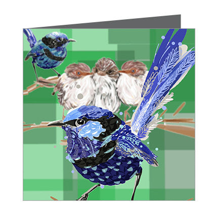 Card - Australian Bird Blue Wrens