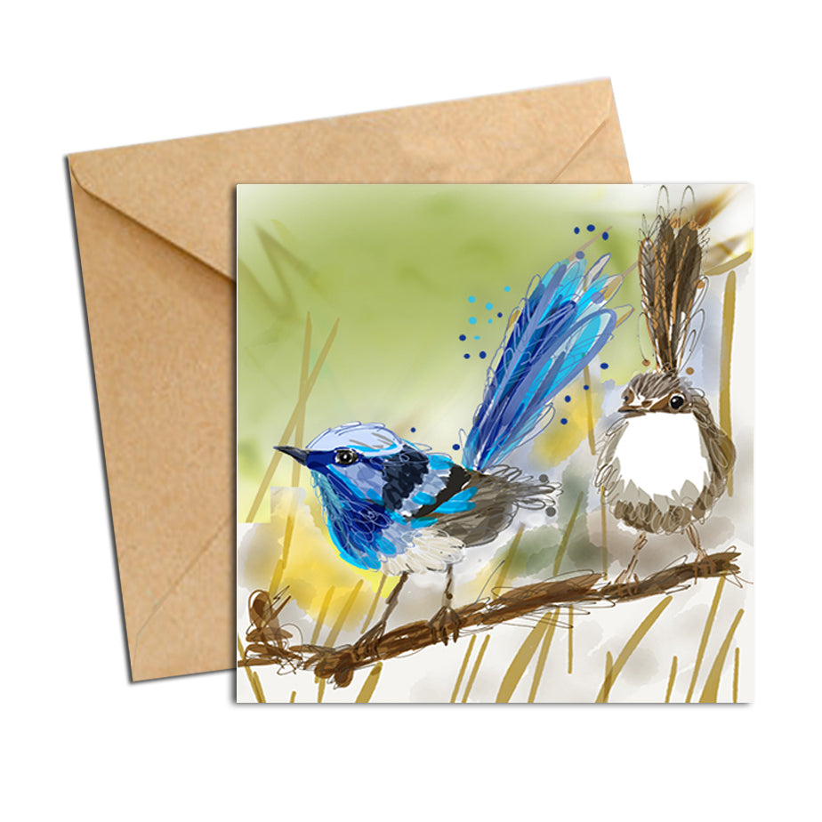Card - Australian Bird Blue Wren