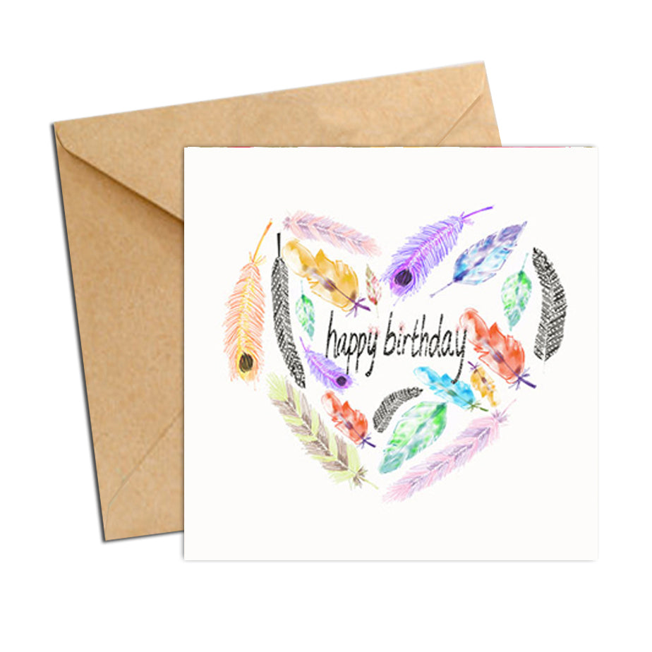 Card - Birthday Heart Feathers