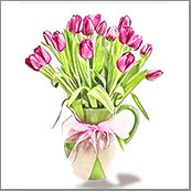 Small Cards (Pack of 10) - Tulips in Vase
