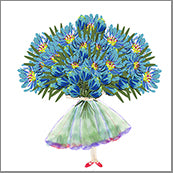 Small Cards (Pack of 10) - Bunch of Blue Flowers
