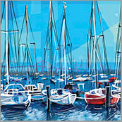 Small Cards (Pack of 10) - Boats Blue