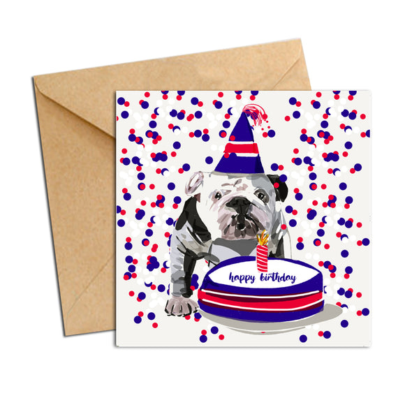 Card - Birthday Bulldog with Cake