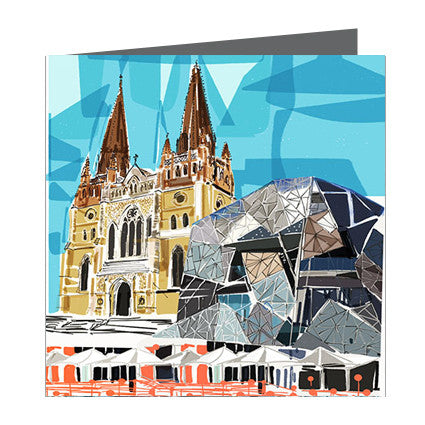 Card - Iconic Melbourne Saint Pauls and Federation Square