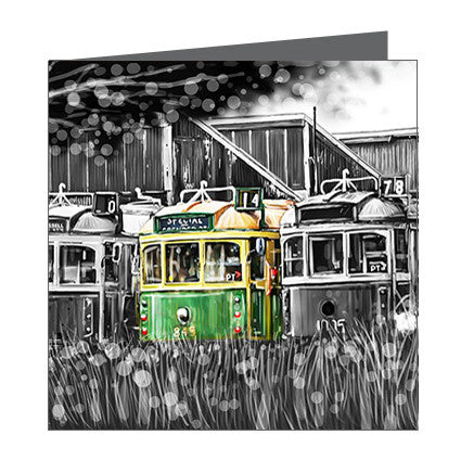 Card - Iconic Melbourne Trams at Depot
