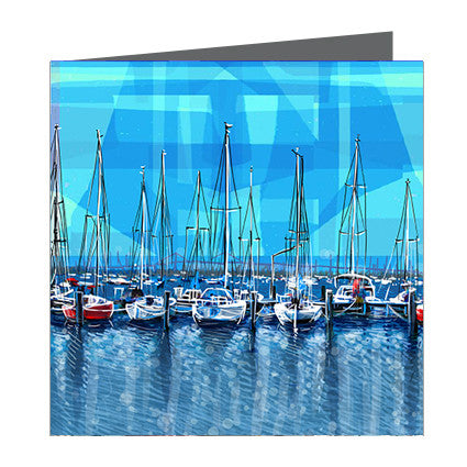 Card - Iconic Melbourne Williamstown Marina Blue Skies
