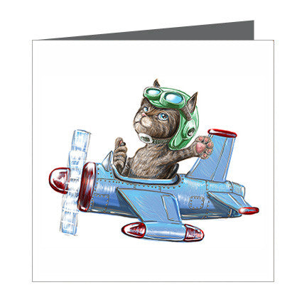 Card - Cat in Plane