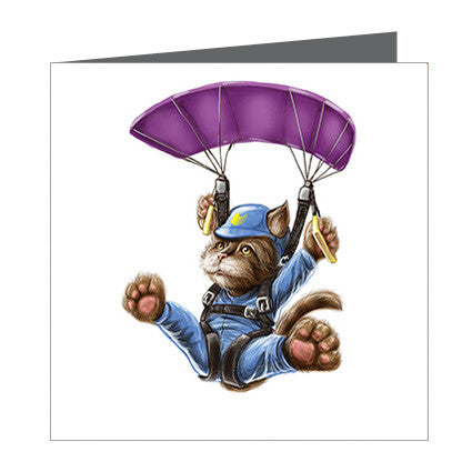 Card - Cat Parachutting