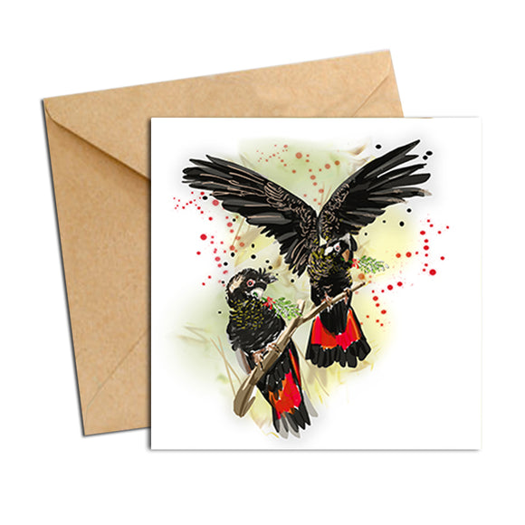 Card - Australian Bird Cockatoos Black