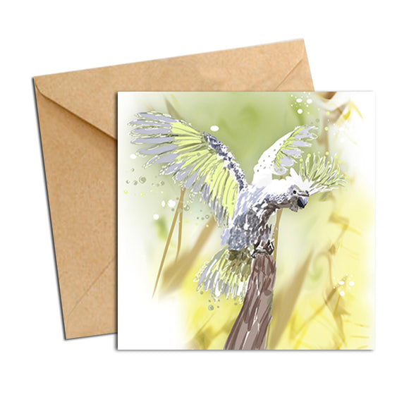 Card - Australian Bird Cockatoo White