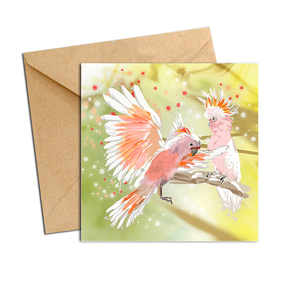 Card - Australian Bird Cockatoos Pink