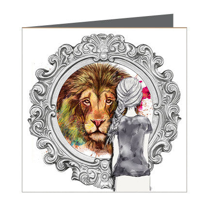 Card - Choose Courage - Girl reflection of lion in Mirror