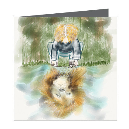Card - Choose Courage - Boy with reflection of lion in water