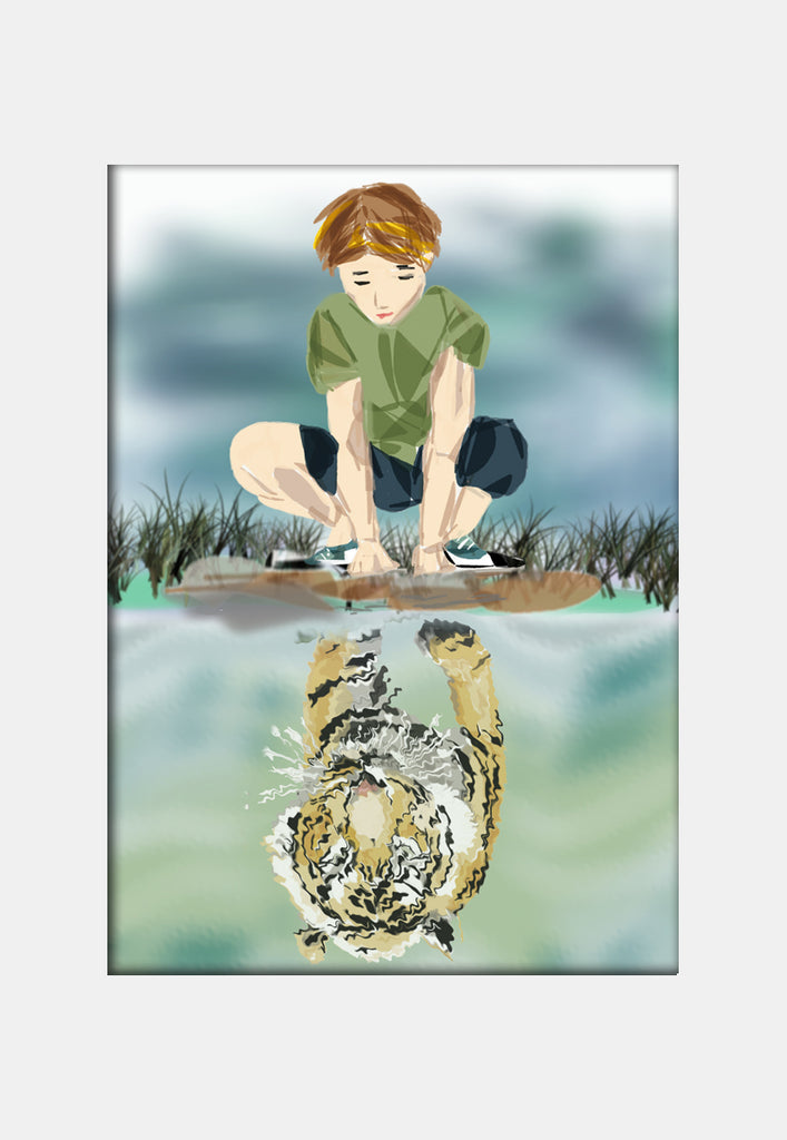 Print Courage - Boy and tiger reflection