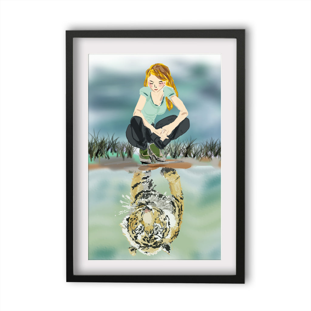 Print Courage - Girl and tiger reflection