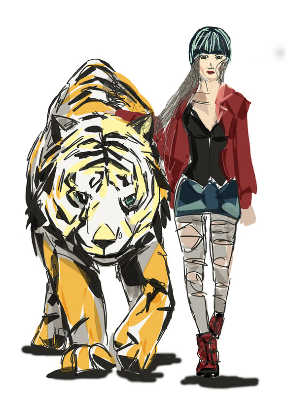 Print Courage - Girl walking tiger