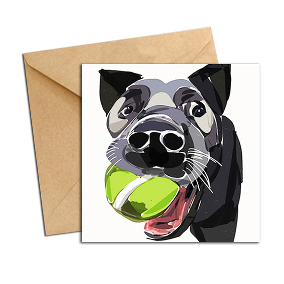 Card - Dog - Blue Heeler with Ball