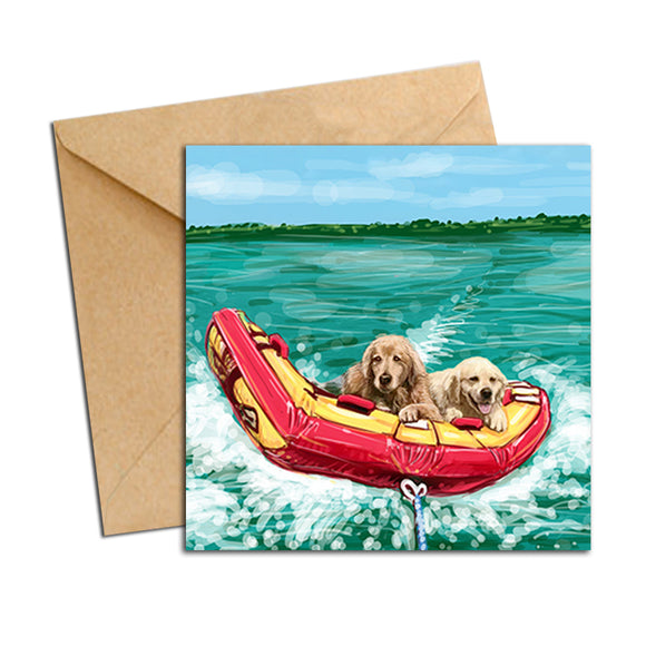Card - Dog - Retrievers on water skies