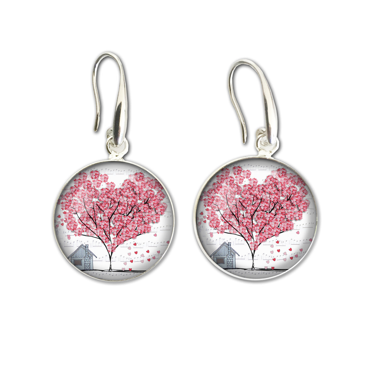Earrings Drop Heart Tree