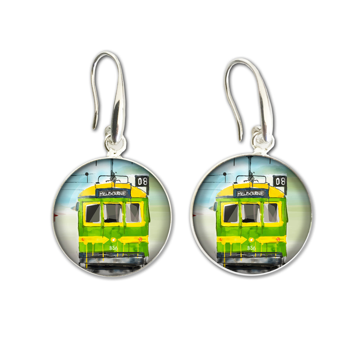 Earrings Drop (Iconic) - Melbourne Tram Green