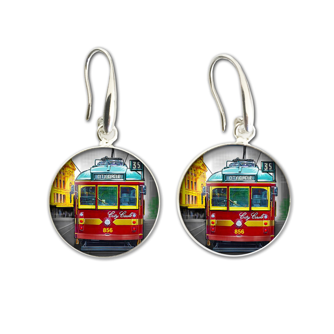 Earrings Drop (Iconic) - Melbourne Tram Red