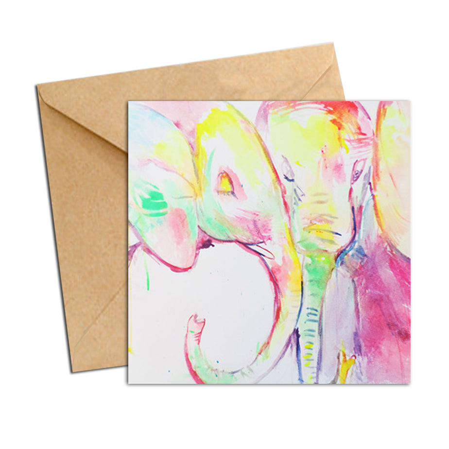 Card - Elephant Pastels