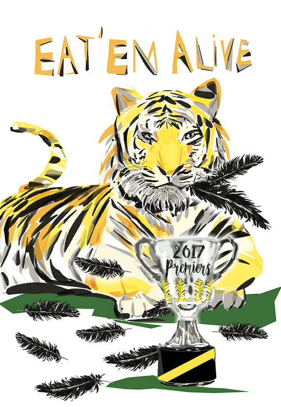 Print Football AFL - Richmond Tiger with Feathers Premier