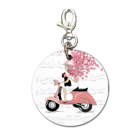 Keyring (Circular) - Heart Confetti Girl on Moped