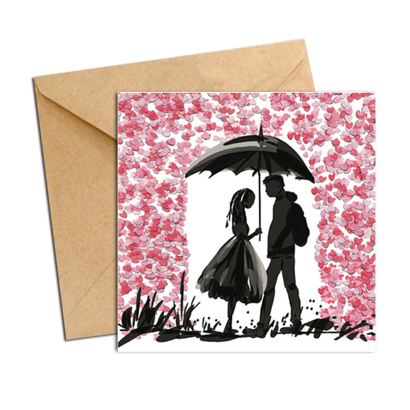 Card - Heart Confetti Girl and Boy in Rain