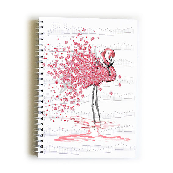 Note Book A5 - Heart Flamingo