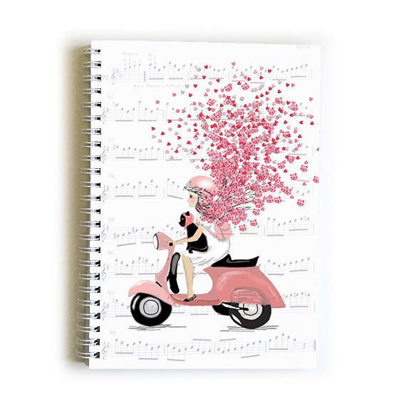 Note Book A5 - Heart Girl on Moped