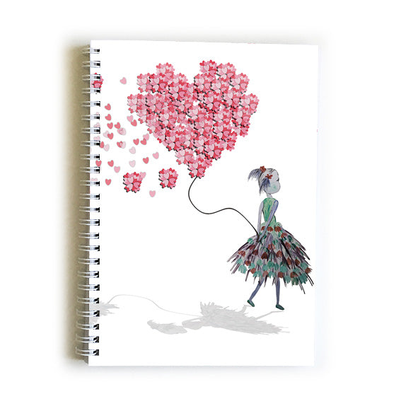 Note Book A5 - Heart Girl with Balloon