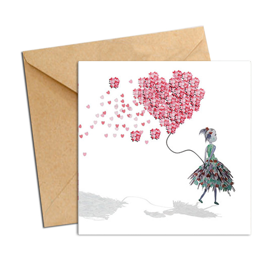 Card - Heart Confetti  Balloon, Greeting Card