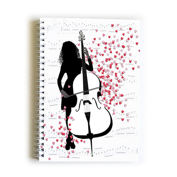 Note Book A5 - Heart Girl with Double Bass