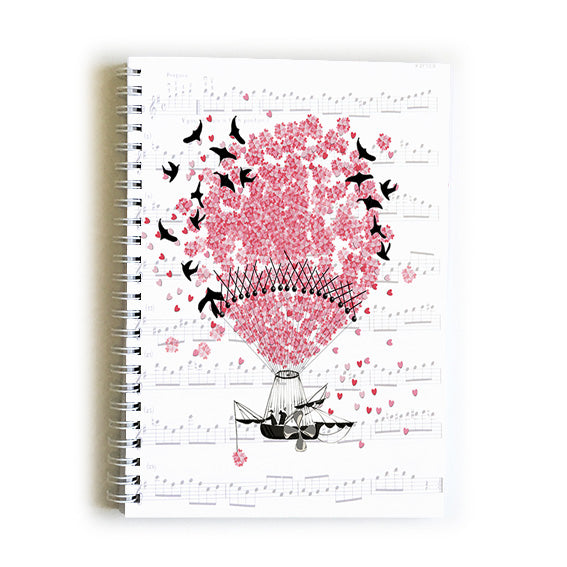 Note Book A5 - Heart Hot Air Balloon