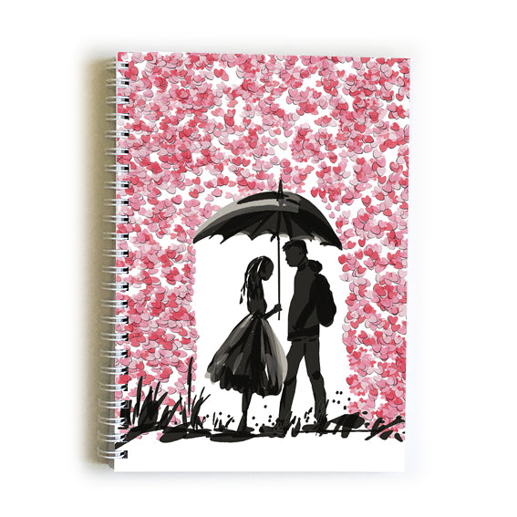Note Book A5 - Heart Love in the Rain