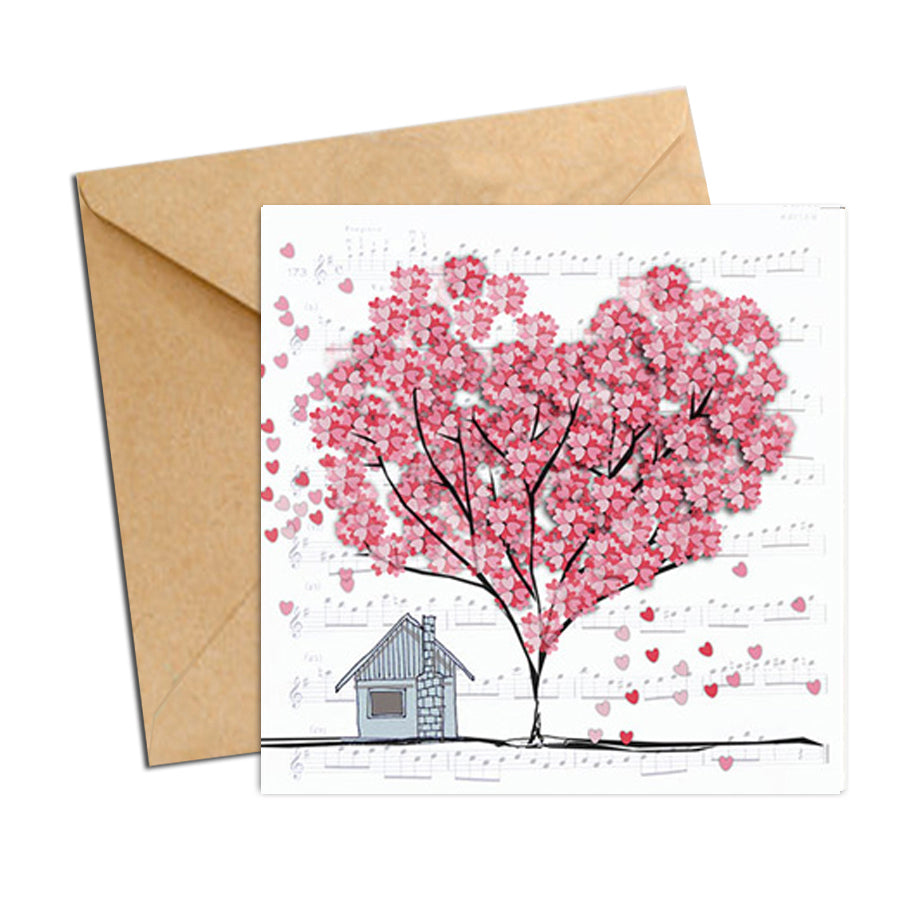 Card - Heart Confetti  Tree home