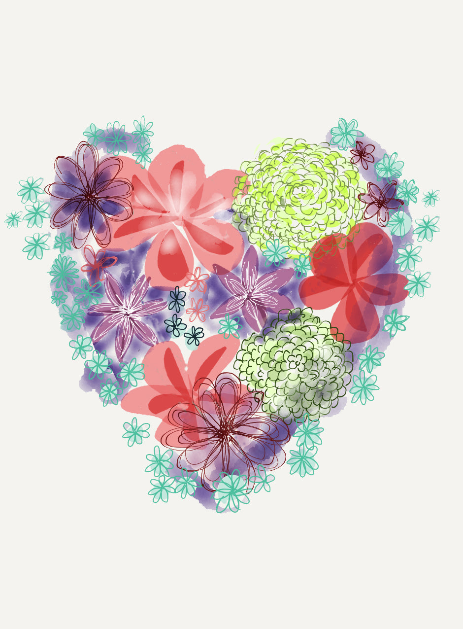 Print Heart Blooms
