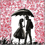 Small Cards (Pack of 10) - Heart Confetti Couple in rain