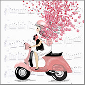 Small Cards (Pack of 10) - Heart Confetti Girl on Moped