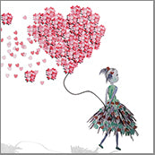 Small Cards (Pack of 10) - Heart Confetti Girl w balloon