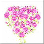 Small Cards (Pack of 10) - Heart Roses Pink