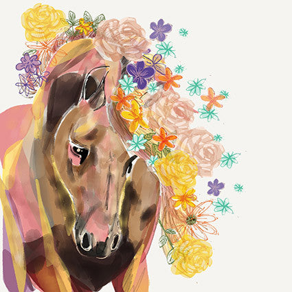 Card - Horse with Flowers