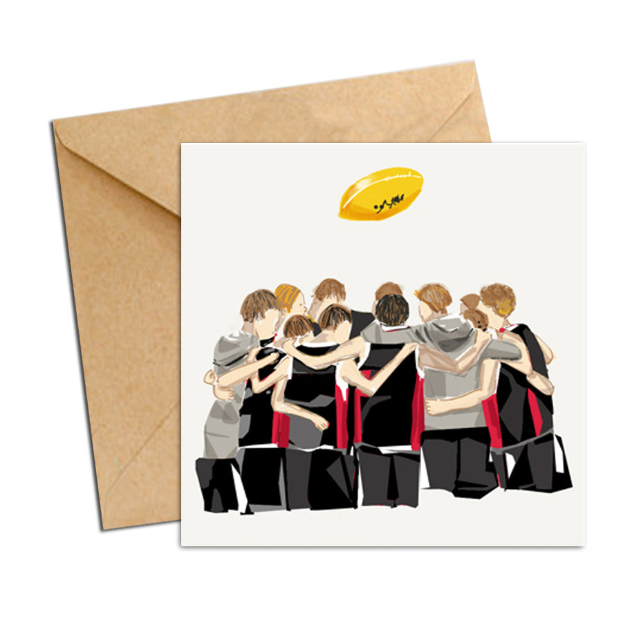 Card - AFL  - Football huddle Black and Red